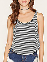 Women's Fine Stripe Going out Cute T-shirt,Striped Deep U Sleeveless Cotton