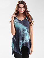 Women's Going out Casual/Daily Holiday Sexy Simple T-shirt,Print Deep V Short Sleeve Polyester