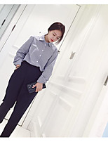Women's Casual/Daily Simple Shirt,Striped Shirt Collar Long Sleeve Cotton