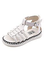 Girls' Sandals Summer Gladiator Comfort Leatherette Outdoor Office & Career Party & Evening Casual Flat Heel Magic Tape Black White