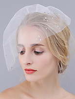 Wedding Veil One-tier Rhinestone Blusher Veils Cut Edge Tulle By Hand