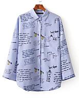 Feminino Camisa Social Para Noite Casual Sensual Simples Moda de Rua Verão,Sólido Letra Seda Algodão Colarinho de Camisa Manga LongaFina