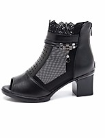 Women's Boots Spring Comfort PU Leather Casual Black