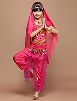 Belly Dance Outfits Kid's Performance Chiffon Spandex Coins Sequins 4 Pieces Short Sleeve Dance Costumes Natural Top / Hip Scarf / Pants / Veil