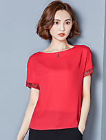 Women's Going out Holiday Simple Cute Summer Blouse,Solid Striped Round Neck Short Sleeve Others Thin
