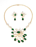 Women Fashion 18k Gold Plated red blue green zricon jewelry sets Austrian crystal Flower Wedding Jewelry Sets(Earrings  necklace)