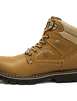 Коричневый Землянисто-желтый-Для мужчин-Для прогулок-Кожа-На плоской подошве-Удобная обувь-Ботинки