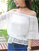 Women's Casual/Daily Sexy Cute Spring Summer Blouse,Solid Print Boat Neck Short Sleeve Polyester Sheer