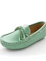 Boys' Girls' Loafers & Slip-Ons Spring Summer Fall Moccasin Flower Girl Shoes Leather Outdoor Athletic Casual Flat Heel BowknotGreen Fuchsia