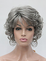 New Wavy Curly Medium Grey Short Synthetic Hair Full Women's  Wig For Everyday