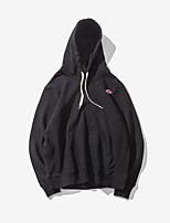 Men's Casual/Daily Hoodie Solid Round Neck Micro-elastic Cotton Long Sleeve
