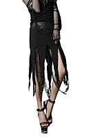 Punk Rave Q-196 Women's Sexy Boho Punk & Gothic Swing Cut Out Patchwork Layered Solid  Low Rise Asymmetrical Skirts