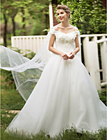 Ball Gown Wedding Dress - Elegant & Luxurious Open Back Floor-length Off-the-shoulder Lace Tulle with Appliques Beading
