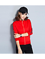 Women's Casual/Daily Active Fall Hoodie Dress Suits,Solid Stand Long Sleeve Cotton Rayon