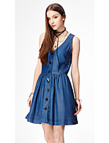 Women's Going out Casual/Daily Work Simple Cute Street chic Loose Dress,Solid V Neck Above Knee Sleeveless Cotton Polyester SummerMid