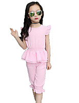 Girls' Casual/Daily Beach Holiday Solid Sets,Polyester Summer Sleeveless Clothing Set
