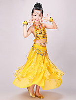 Belly Dance Outfits Kid's Performance Chiffon Spandex Sequined Coins Sequins 4 Pieces Sleeveless Dance Costumes Natural Top Hip Scarf Skirt Headpieces