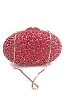Women Fashion Handmade Crystal Evening Clutch Bags in Red