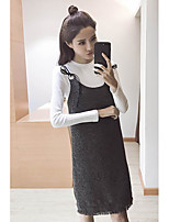 Women's Going out Cute Spring Sweater Dress Suits,Solid Round Neck Long Sleeve Nylon