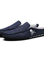 Черный Серый Синий-Для мужчин-Для прогулок Повседневный-Полотно-На плоской подошве-Удобная обувь Светодиодные подошвы-Мокасины и Свитер