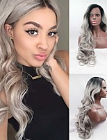 Synthetic Lace Front Wig Long Body wave Guleless 1B/Gery Wig Heat Resistant Fiber Natural Fully Hair Black Ombre Silver Grey Wig