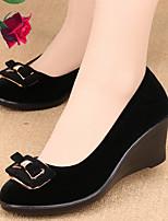Черный-Для женщин-Повседневный-ПолиуретанУдобная обувь-На плокой подошве