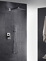 Contemporary Art Deco/Retro Modern Wall Mounted Thermostatic Rain Shower Pullout Spray with  Brass Valve Single Handle Two Holes Faucet