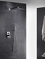 Modern Art Deco/Retro Muurbevestigd Thermostatisch Regendouche Met uitneembare spray with  Messing ventiel Single Handle twee gatenfor