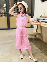 Girls' Casual/Daily Solid Sets,Cotton Polyester Summer Sleeveless Clothing Set