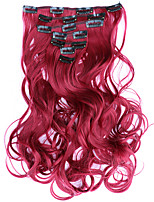 7pcs/Set 130g  Red 50cm Hair Extension Clip In Synthetic Hair Extensions