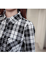 Women's Casual/Daily Simple Shirt,Check Stand Long Sleeve Cotton Polyester Opaque