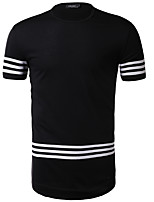 Men's Sports Going out Casual/Daily Simple Active Summer T-shirt,Solid Striped Round Neck Short Sleeve Cotton Rayon Thin