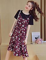 Damen einfarbig Einfach Lässig/Alltäglich Strand T-Shirt-Ärmel Kleid Anzüge,Rundhalsausschnitt Kurzarm