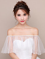 Off-shoulder Women's Wrap Capelets Tulle Wedding Party/Evening Pearls