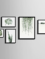 E-HOME® Framed Canvas Art   Simple Green Plant Series Theme Series Framed Canvas Print One Pcs