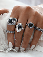 Fashion Punk 5 PCS Vintage Ring Sets Antique Alloy Black Gem Midi finger Rings for Women Steampunk Turkish Ring Wedding Jewelry Mother's Day Gift