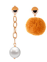 Lureme Asymmetric Design Cute Enameled Eyes Pom Pom Earrings and Long Chain Pearl Pendant