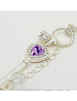 Pendant Necklaces Long Purple Crystal Love Sweater Chain Crown Key Necklace