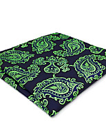 CH18 New Men's Pocket Square Handkerchiefs Blue Green Paisley 100% Silk Wedding Casual Business Unique Handmade