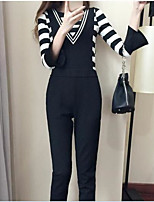 Women's Casual/Daily Simple Winter Shirt Pant Suits,Solid Round Neck Long Sleeve Cotton