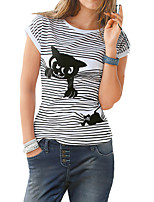 Women's Casual/Daily Simple T-shirt,Solid Striped Round Neck Short Sleeve Polyester