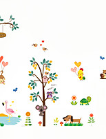 Wall Stickers Wall Decas Style Owl Monkey Paradise Tree PVC Wall Stickers