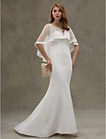 LAN TING BRIDE Sereia Vestido de casamento - Elegante e Luxuoso Transparências Cauda Escova Decote em U Chiffon Tule com Em Camadas