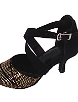 Women's Customized Heel Latin Sandals Open Toe Dancing Shoe Black and Gold