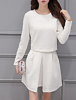 Women's Going out Cute Spring Blouse Dress Suits,Print Round Neck Long Sleeve Polyester