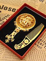 2pc pattern est aléatoire rétro antique bronze voyageant mini cadeau délicat creuse élastique miroir cosmétique