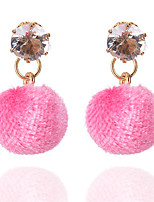 6 Colors New Summer Bohemia Fashion Charm Rhinestone Velvet Ball Drop Earrings For Women Statement Jewelry brincos