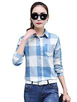 Women's Casual/Daily Simple Shirt,Striped Shirt Collar Long Sleeve Cotton Thin