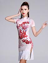 Latin Dance Dresses Women's Performance Viscose Pattern/Print 1 Piece Short Sleeve Natural Dress