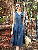 BLUEOXY Women's Going out Casual/Daily Party Loose Swing DressSolid Round Neck Knee-length Sleeveless Cotton Others Spring Summer Low Rise